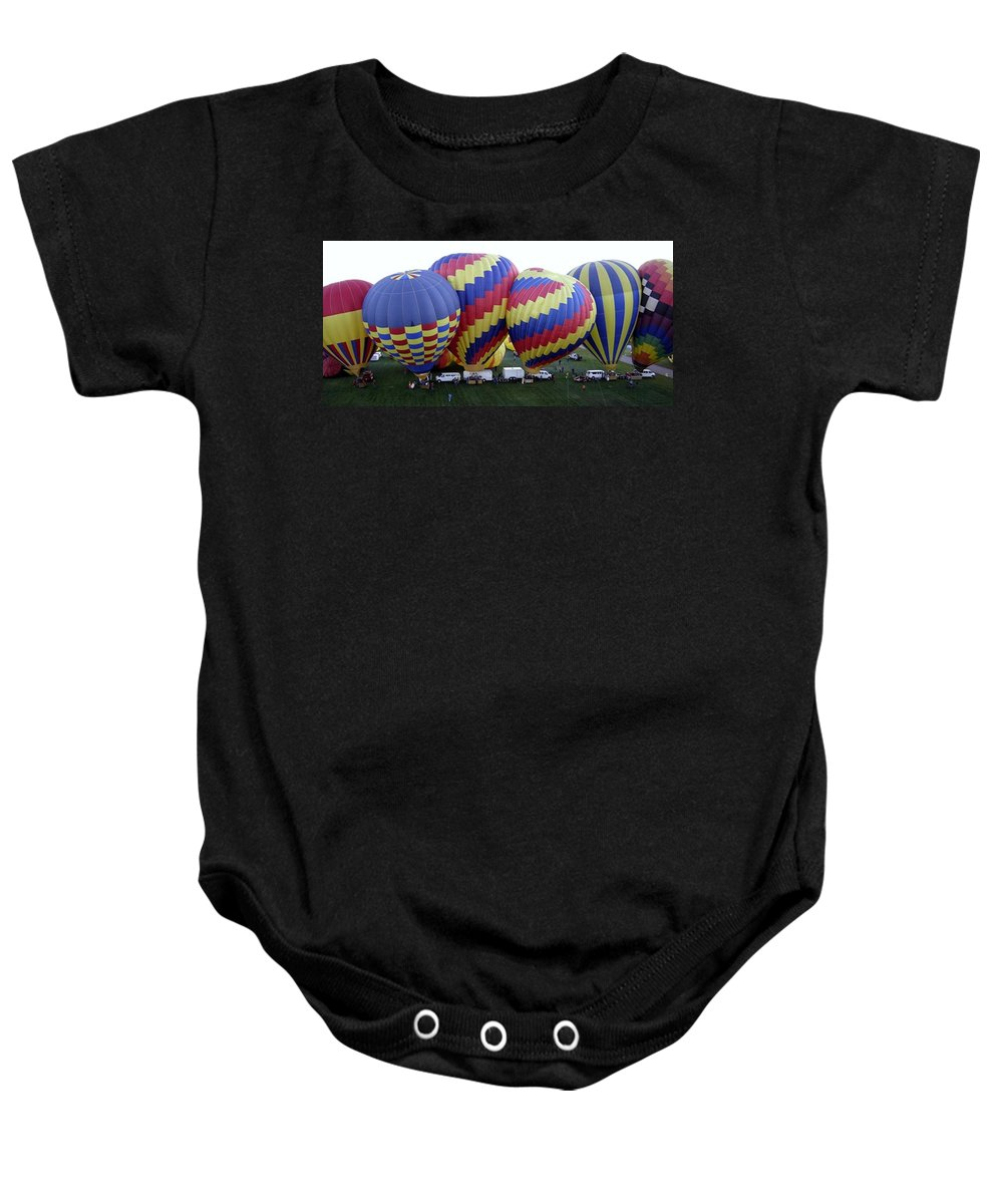 Hot Air Balloons Baby Onesie featuring the photograph Many Balloons by Mary Rogers
