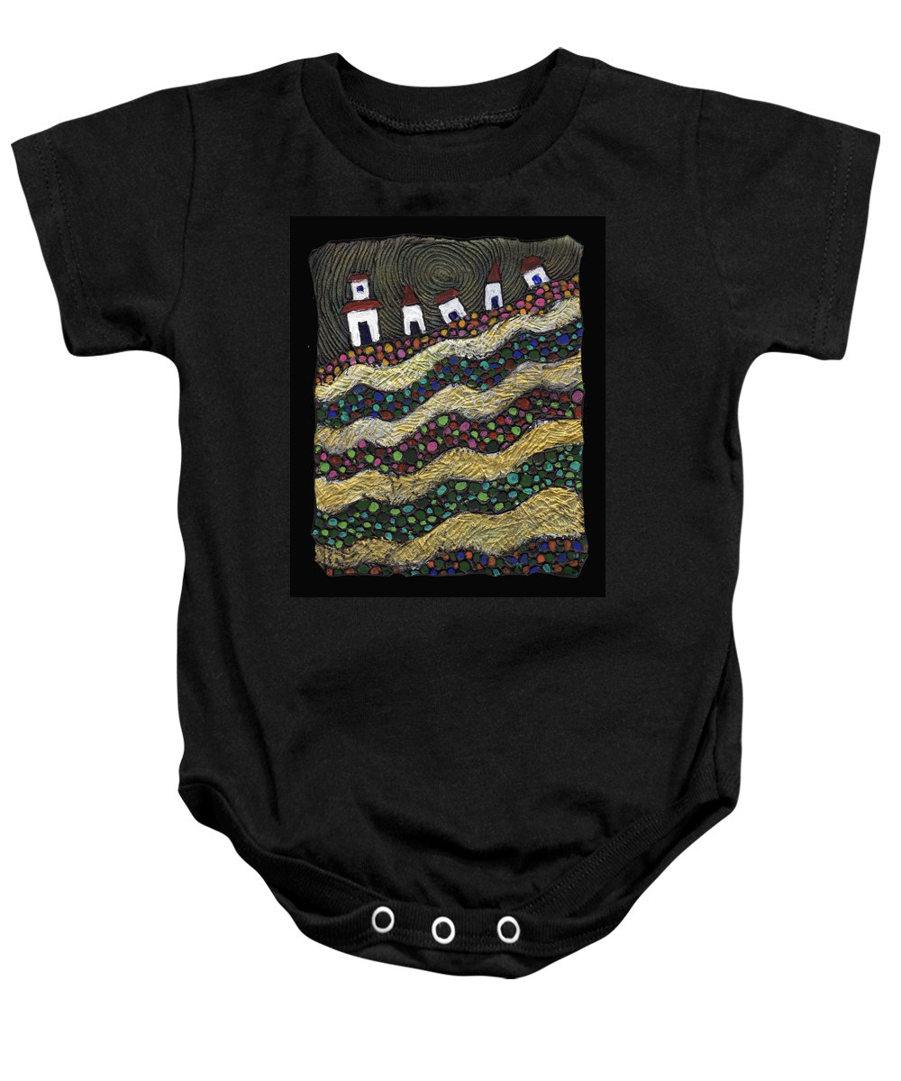Folk Art Baby Onesie featuring the painting Many Paths Lead To The Top by Wayne Potrafka