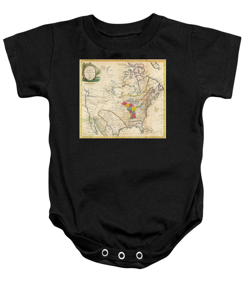 Map Baby Onesie featuring the painting Map Of Colonial North America by Jonathan Carver