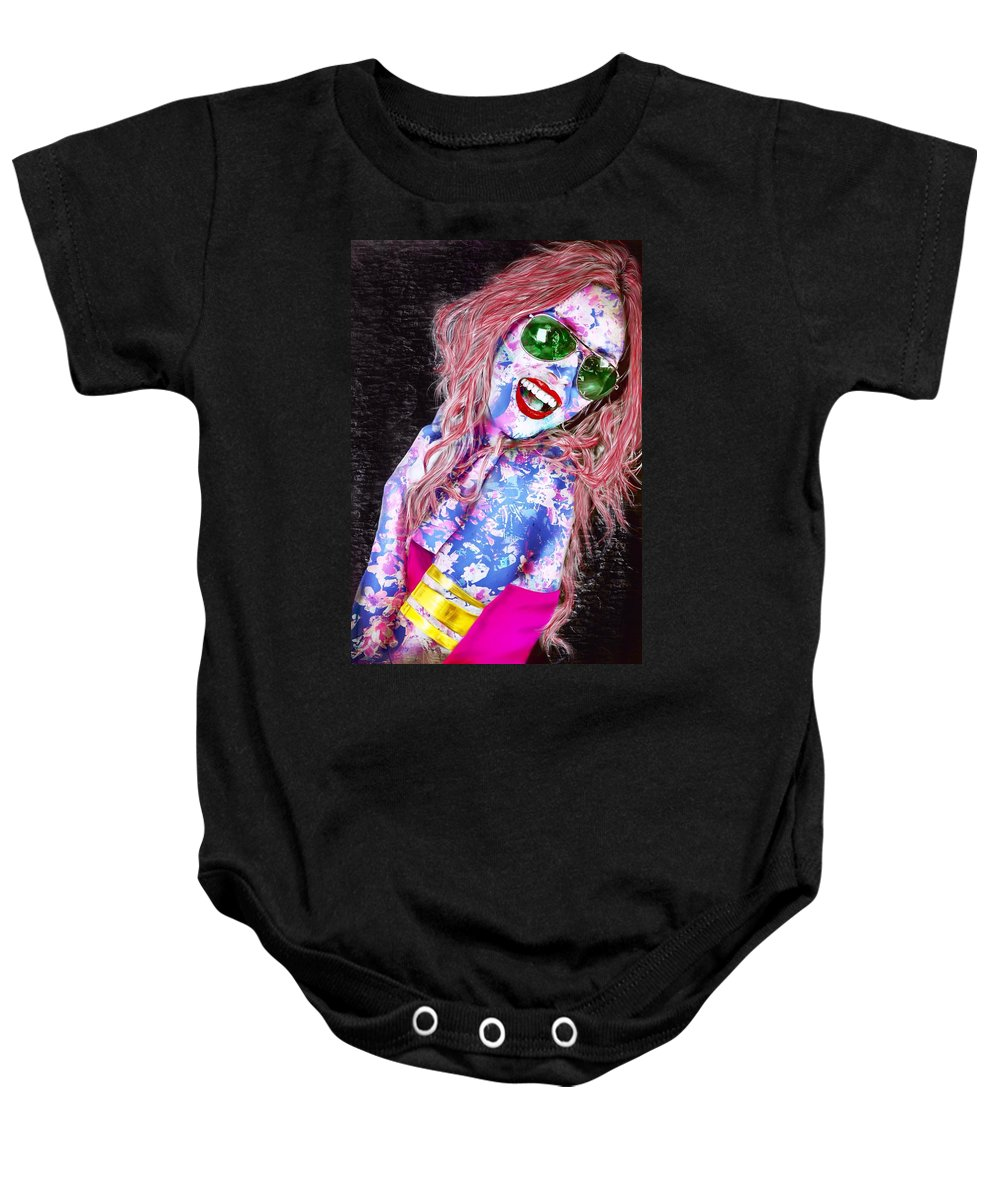 mardi Gras Lady Baby Onesie featuring the painting Mardi Gras Lady by Mark Taylor