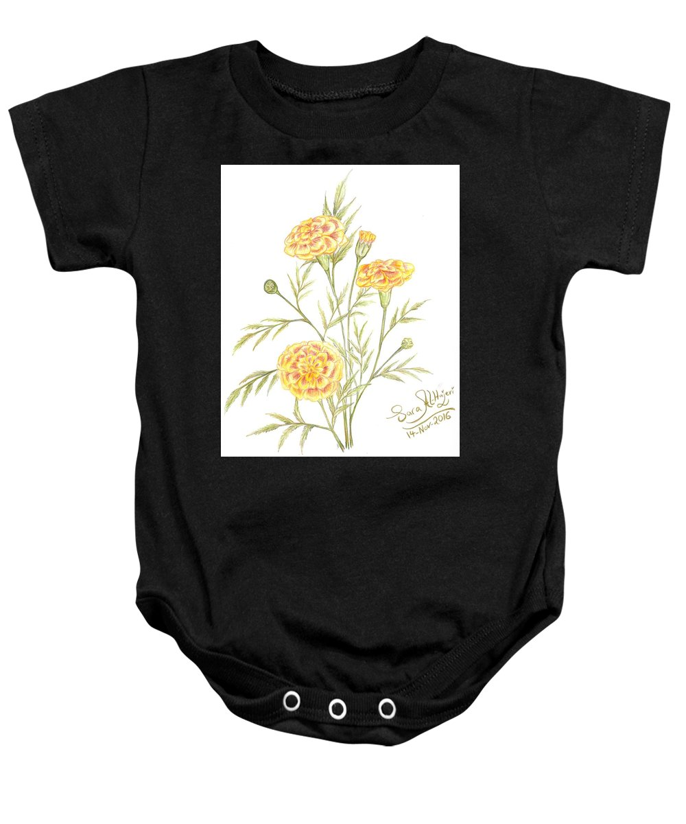 Baby Onesie featuring the drawing Marigold by Sara Alhajeri