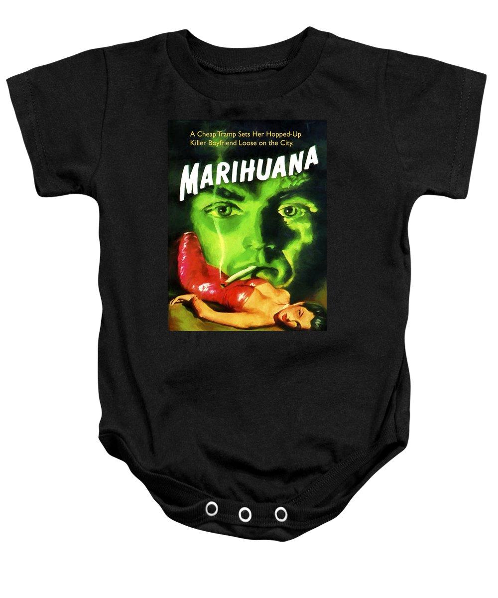 Marijuana Baby Onesie featuring the painting Marihuana by Dominic Piperata
