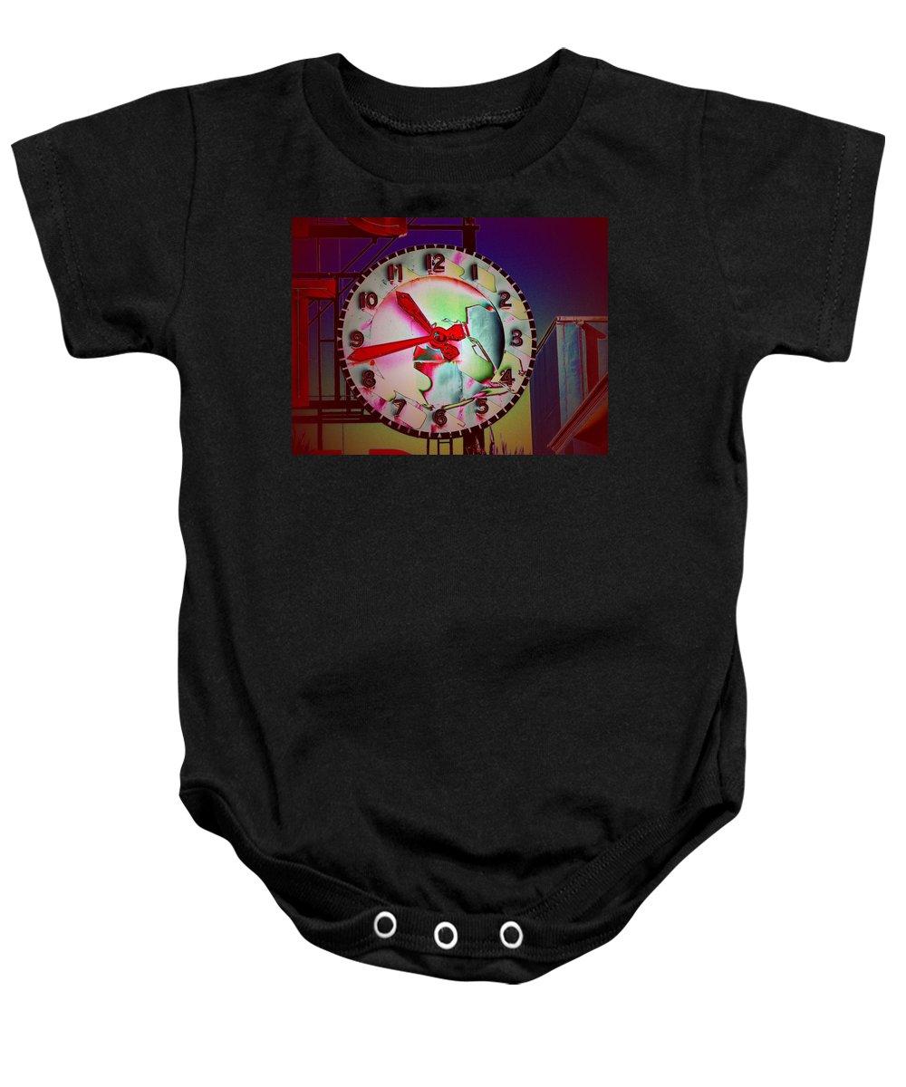 Seattle Baby Onesie featuring the digital art Market Clock 3 by Tim Allen