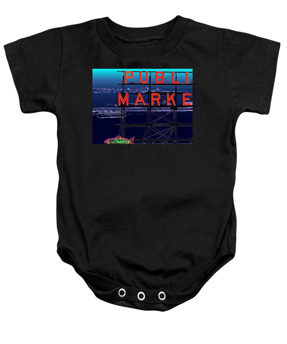 Seattle Baby Onesie featuring the digital art Market Ferry by Tim Allen