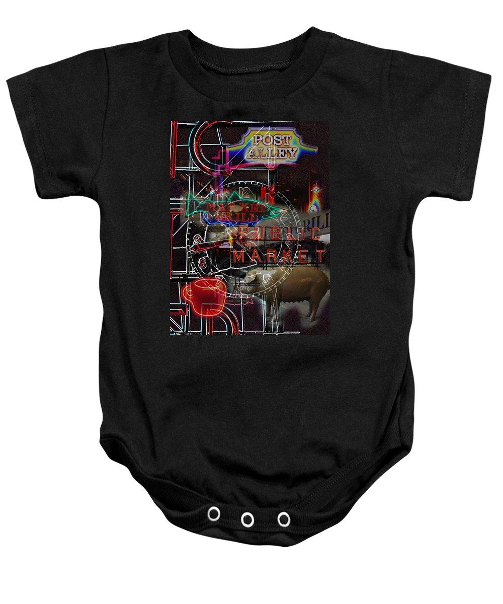 Seattle Baby Onesie featuring the photograph Market Medley by Tim Allen