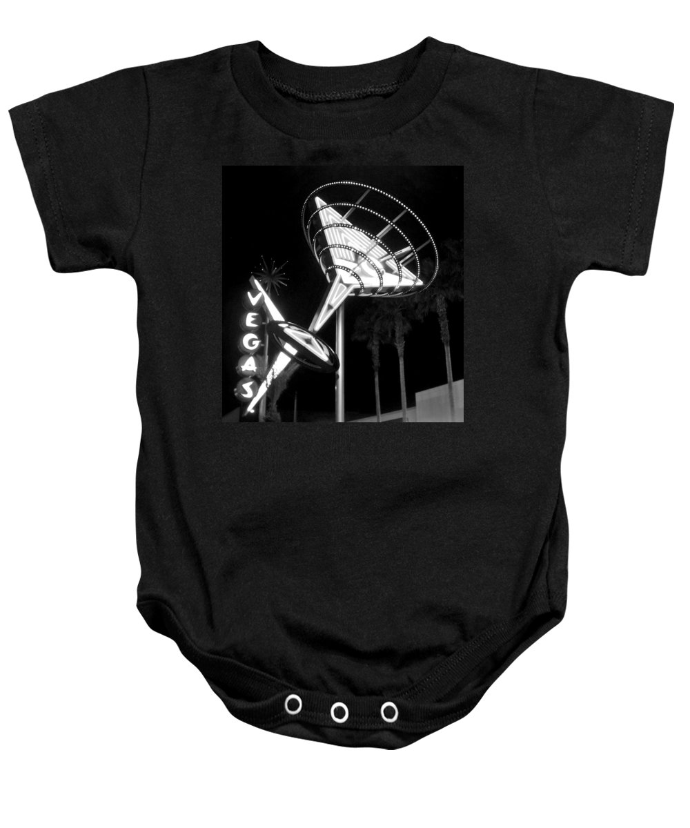 Martini Baby Onesie featuring the photograph Martini Sign In Vegas B-w by Anita Burgermeister