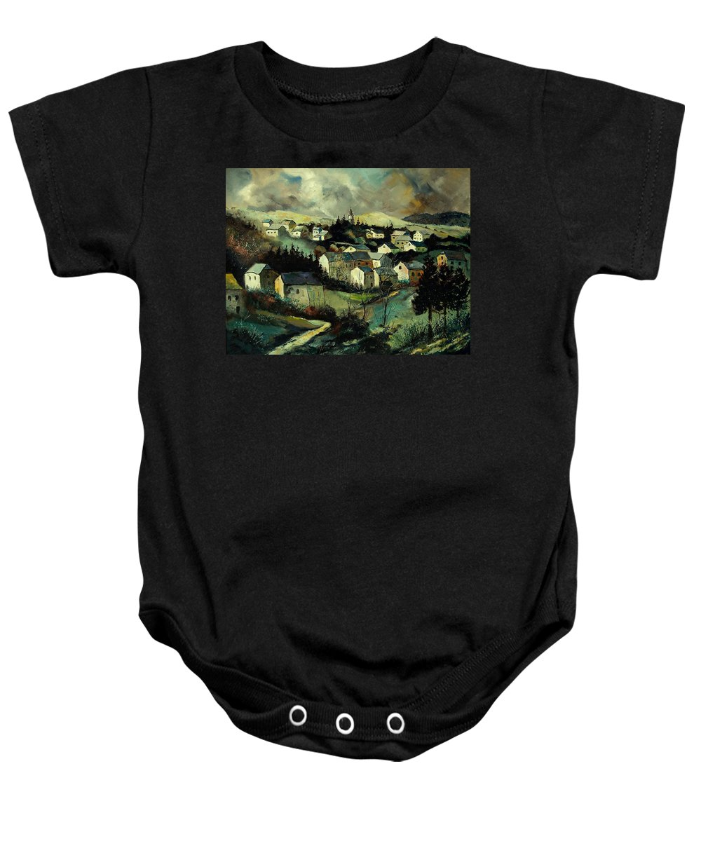 Winter Baby Onesie featuring the painting Masbourg by Pol Ledent