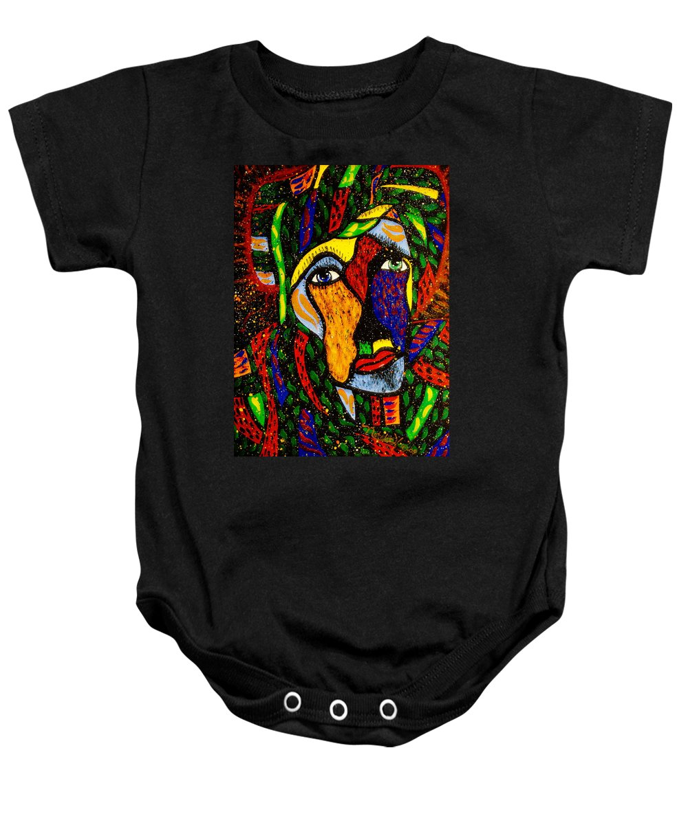 Masquerade Baby Onesie featuring the painting Masquerade by Natalie Holland