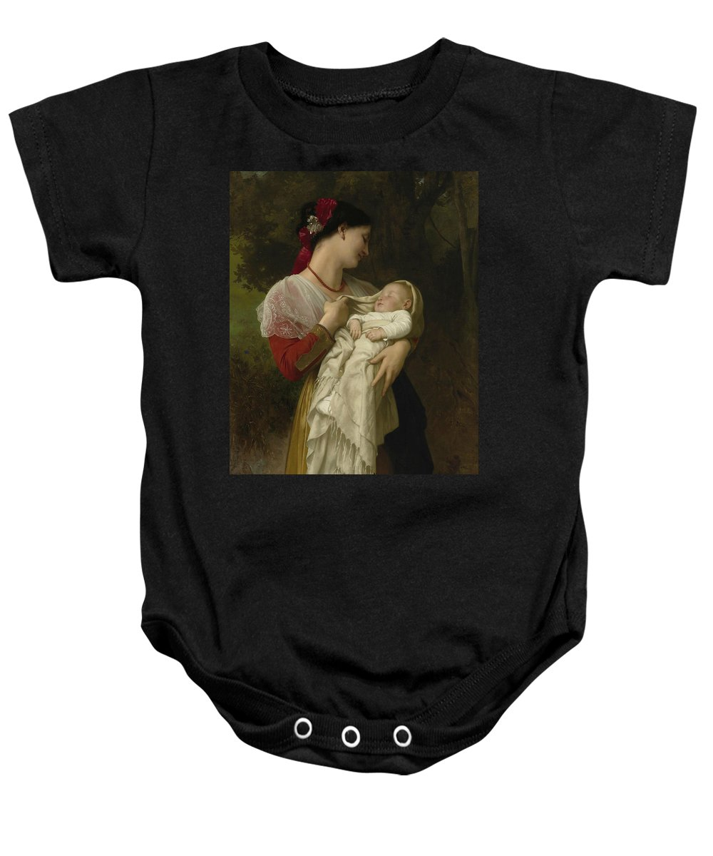 William-adolphe Bouguereau Baby Onesie featuring the painting Maternal Admiration by William-Adolphe Bouguereau
