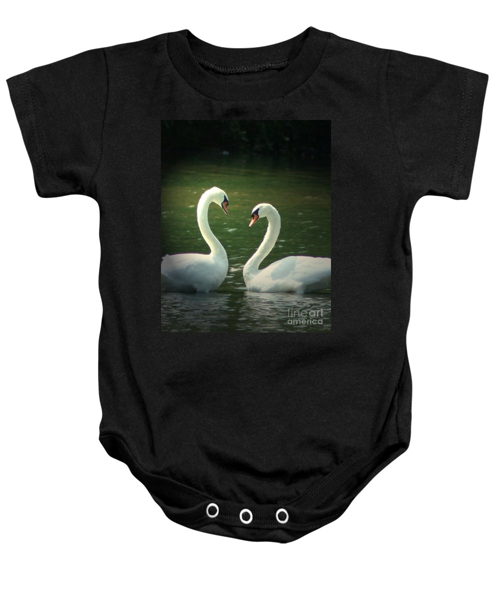 Nature Wildlife Ohio Waterscape Landscape Swans Lake Pond Baby Onesie featuring the photograph Mates For Life by Dawn Downour