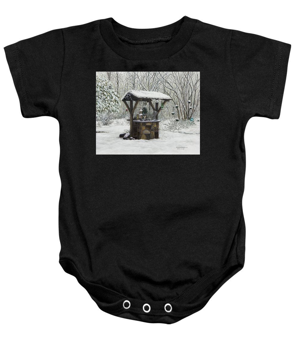 Wishing Well Paintings Baby Onesie featuring the painting Mavis' Well by Mary Ann King