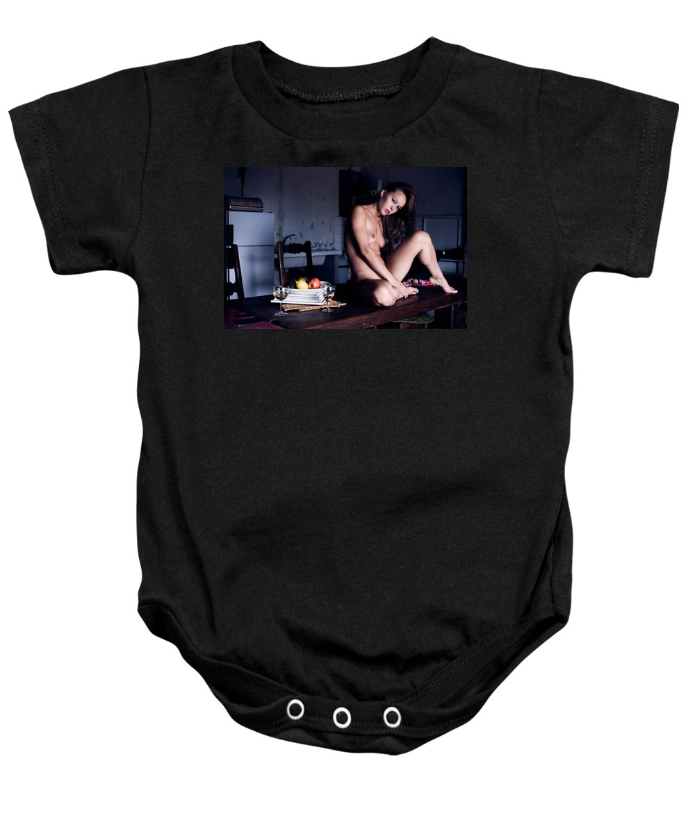 Sensual Baby Onesie featuring the photograph Maybe Or Maybe Not by Olivier De Rycke