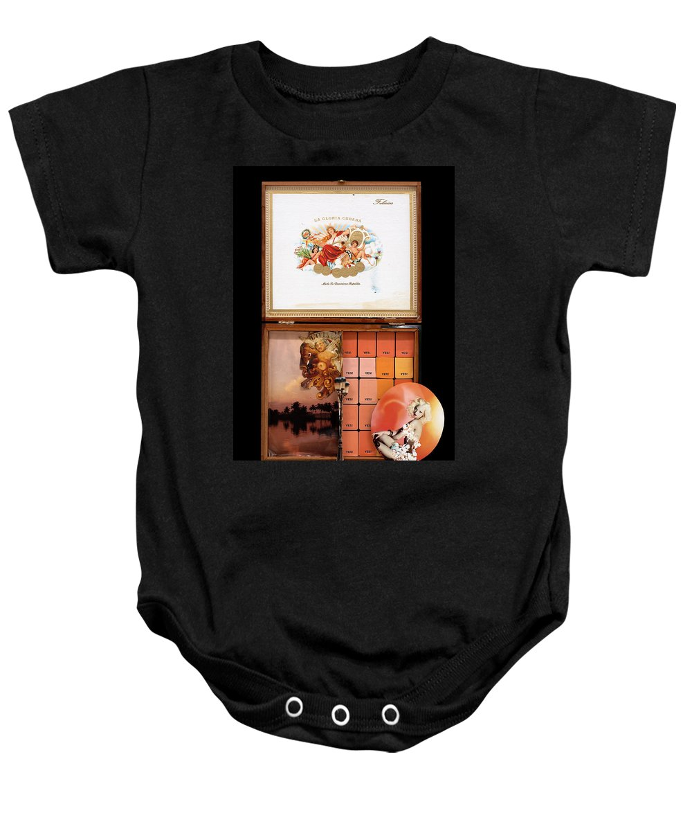 Cigar Box Baby Onesie featuring the mixed media Maybe Yes by Jaime Becker