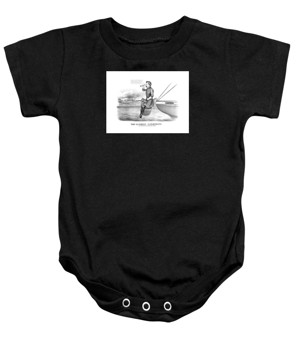 George Mcclellan Baby Onesie featuring the drawing Mcclellan The Gunboat Candidate by War Is Hell Store