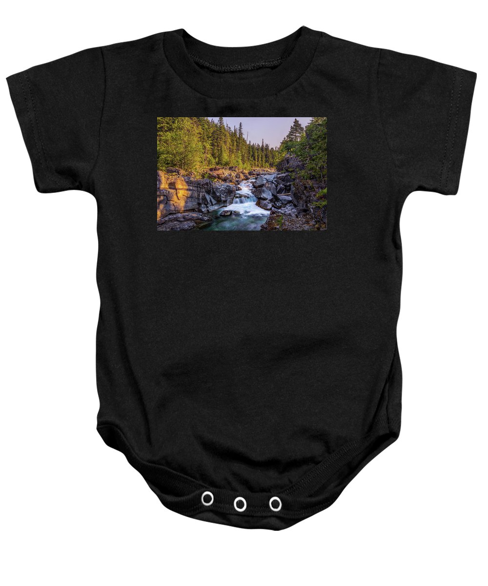 Falls Baby Onesie featuring the photograph Mcdonald Creek Falls by Peter Tellone