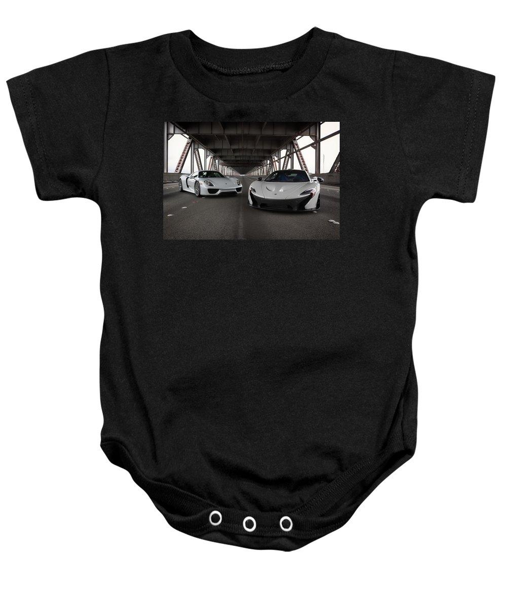 Mclaren Baby Onesie featuring the photograph #mclaren #p1 And #porsche #918spyder #print by ItzKirb Photography