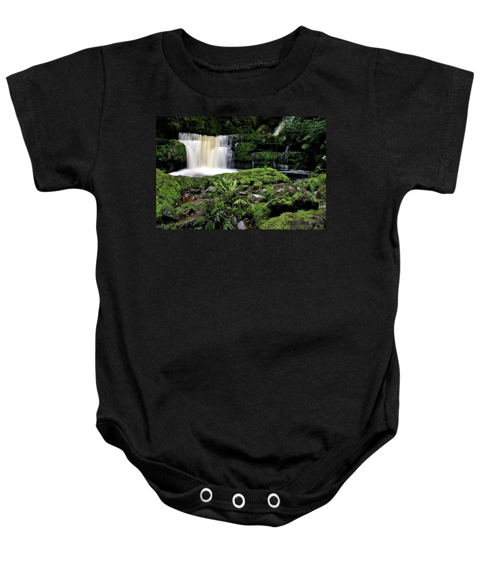 Water Baby Onesie featuring the digital art Mclean Falls In Southland New Zealand by Mark Duffy