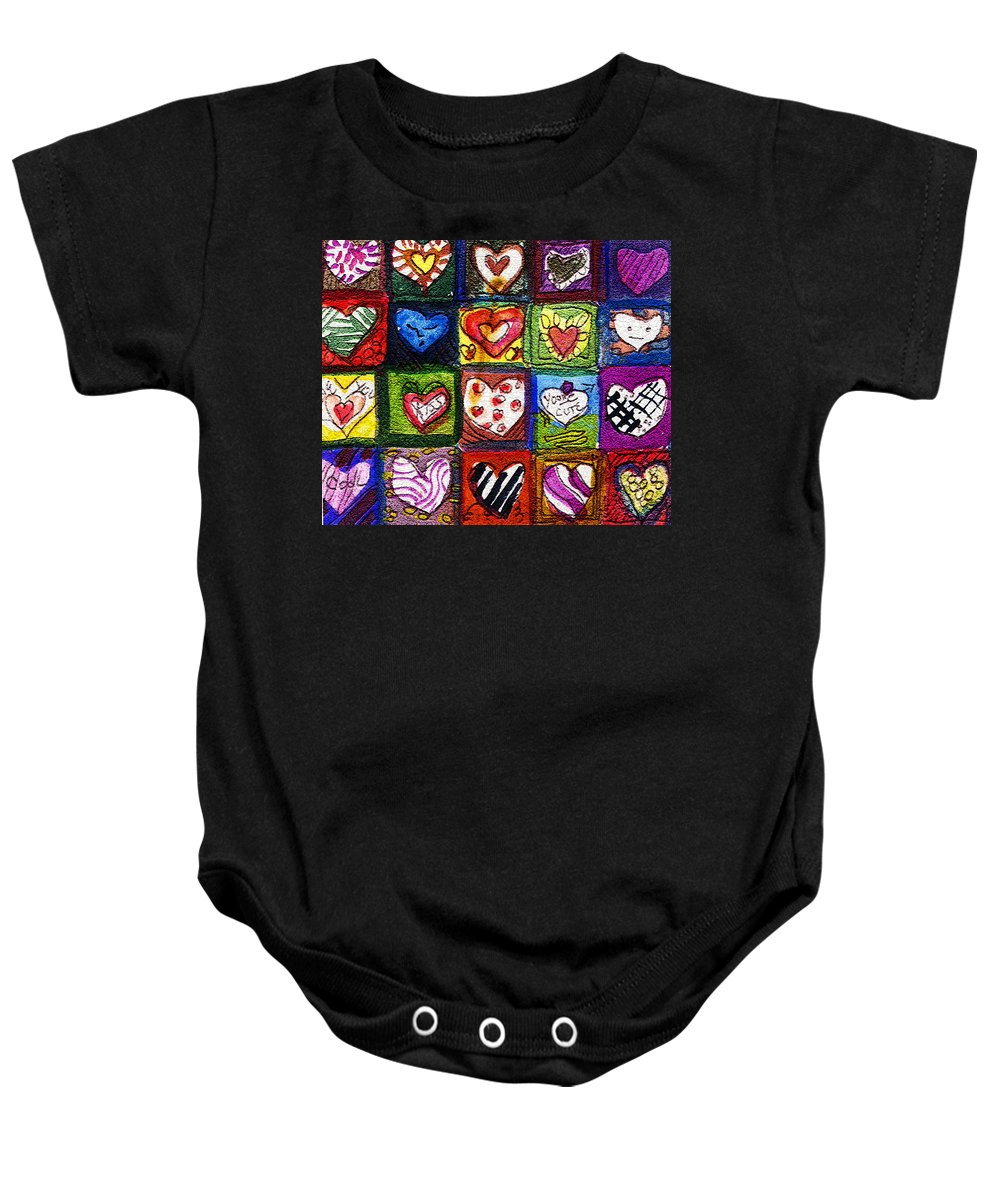 Hearts Baby Onesie featuring the painting Me Luv by Mindy Newman