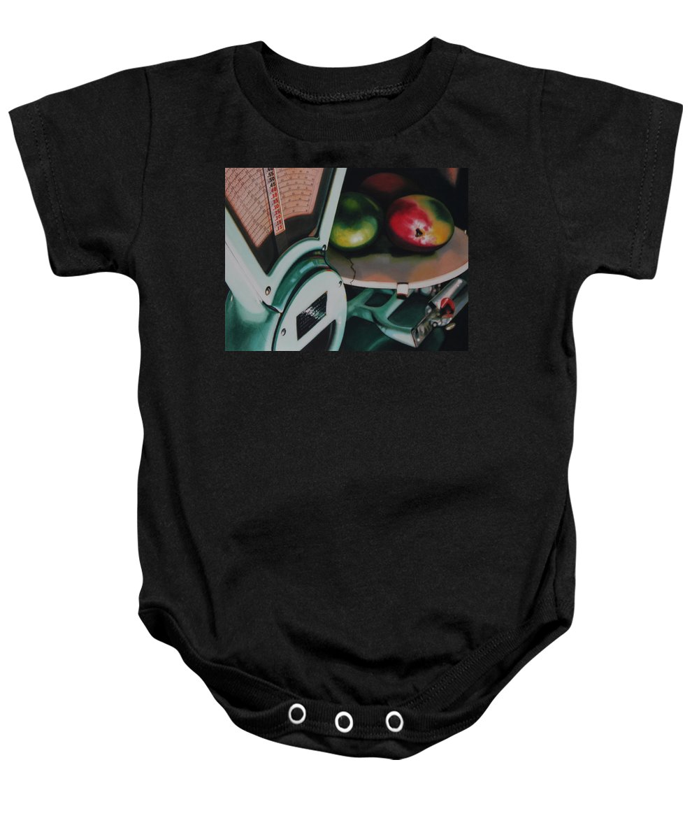 Scale Baby Onesie featuring the painting Measured by Denny Bond