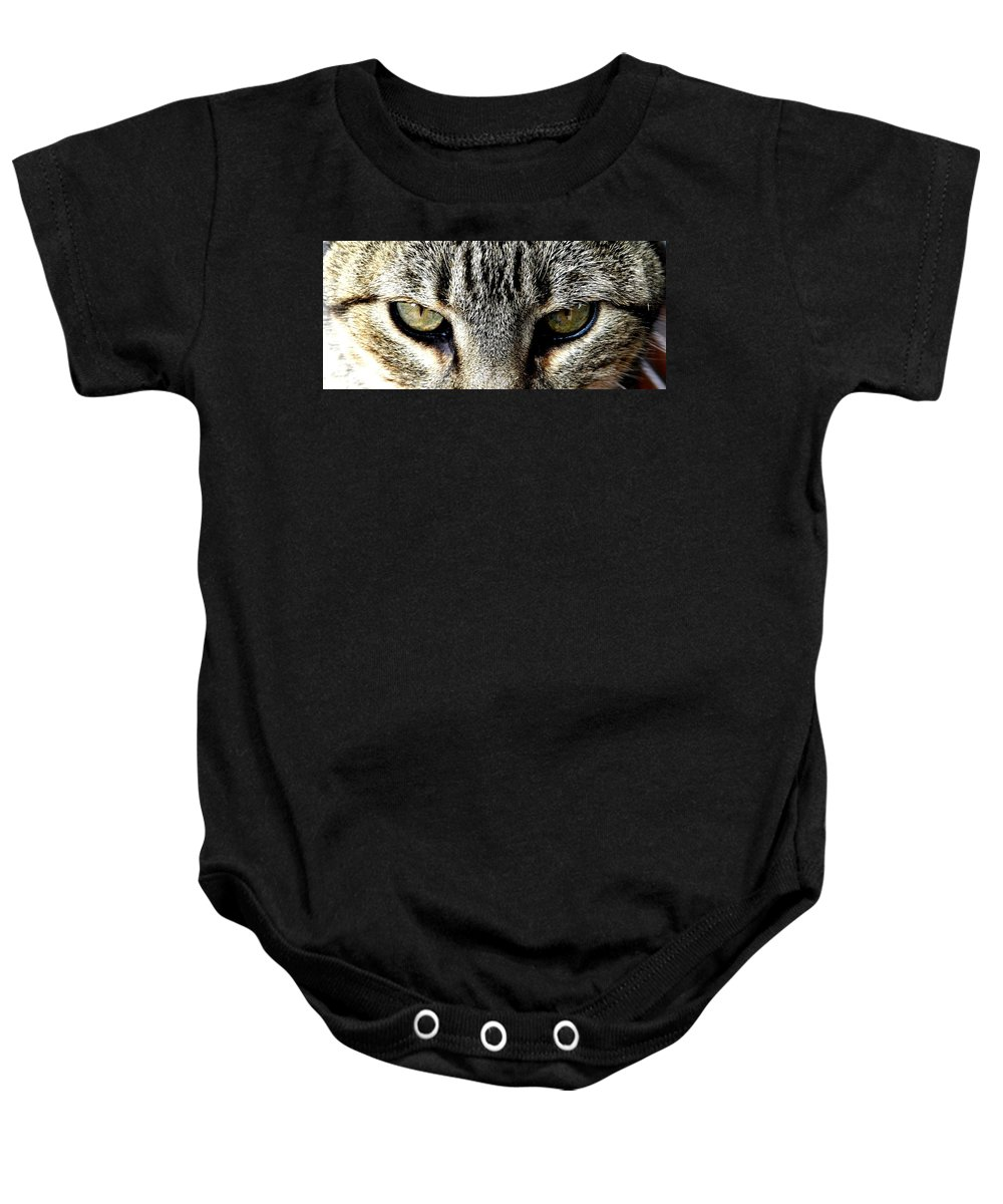 Cat Baby Onesie featuring the photograph Me...dangerous...never. by Valerie Ornstein