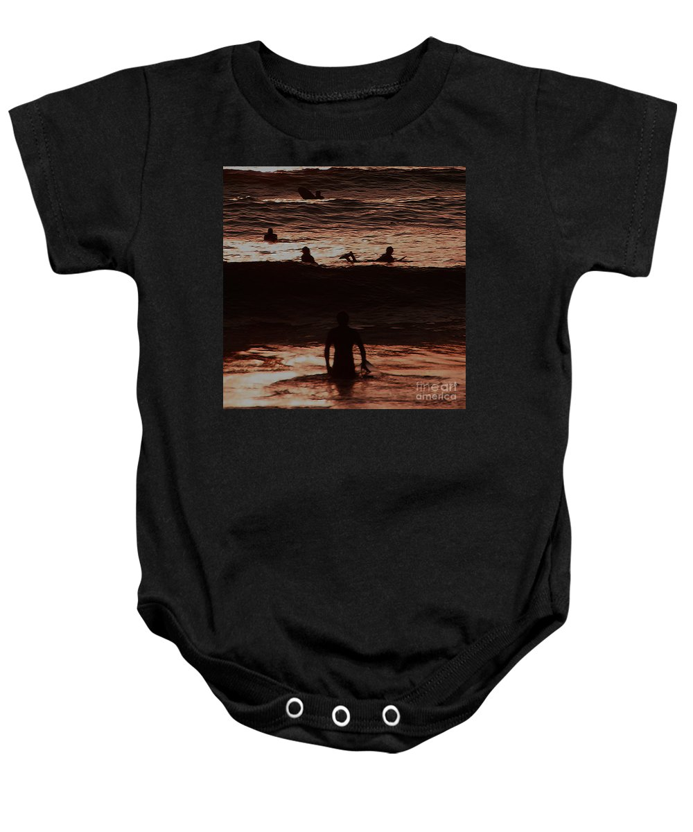 Ocean Baby Onesie featuring the photograph Meditari - Red by Linda Shafer