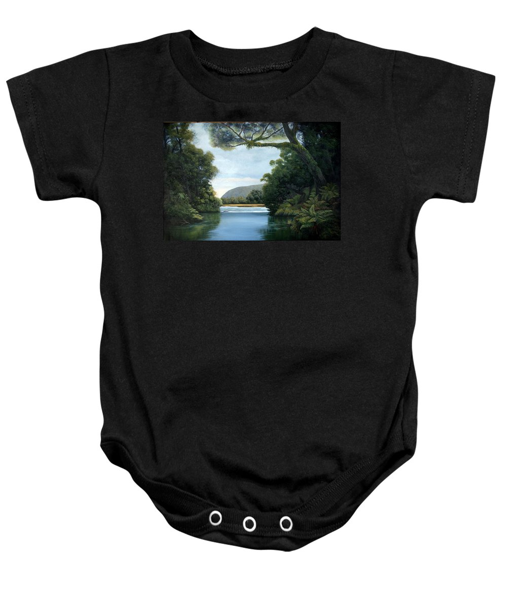 New Zealand Artist Baby Onesie featuring the painting Meeting Of The Waters by Lorna Allan
