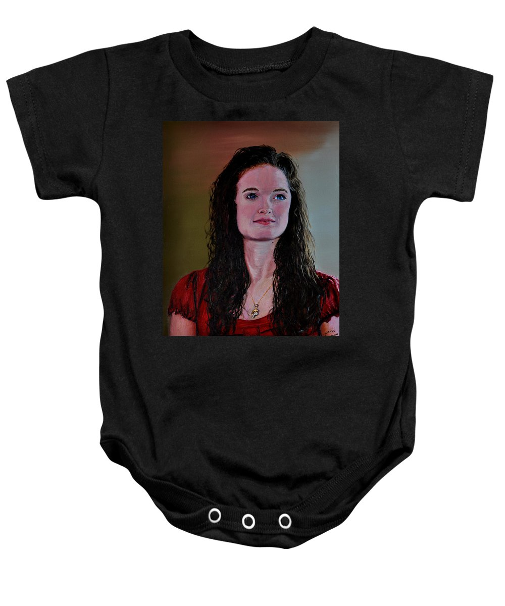 Woman Baby Onesie featuring the painting Megan At Eighteen by Stan Hamilton