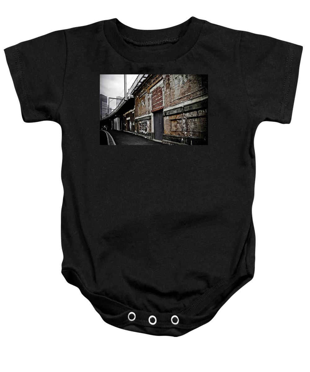 Melbourne Alley Baby Onesie featuring the photograph Melbourne Alley by Kelly Jade King