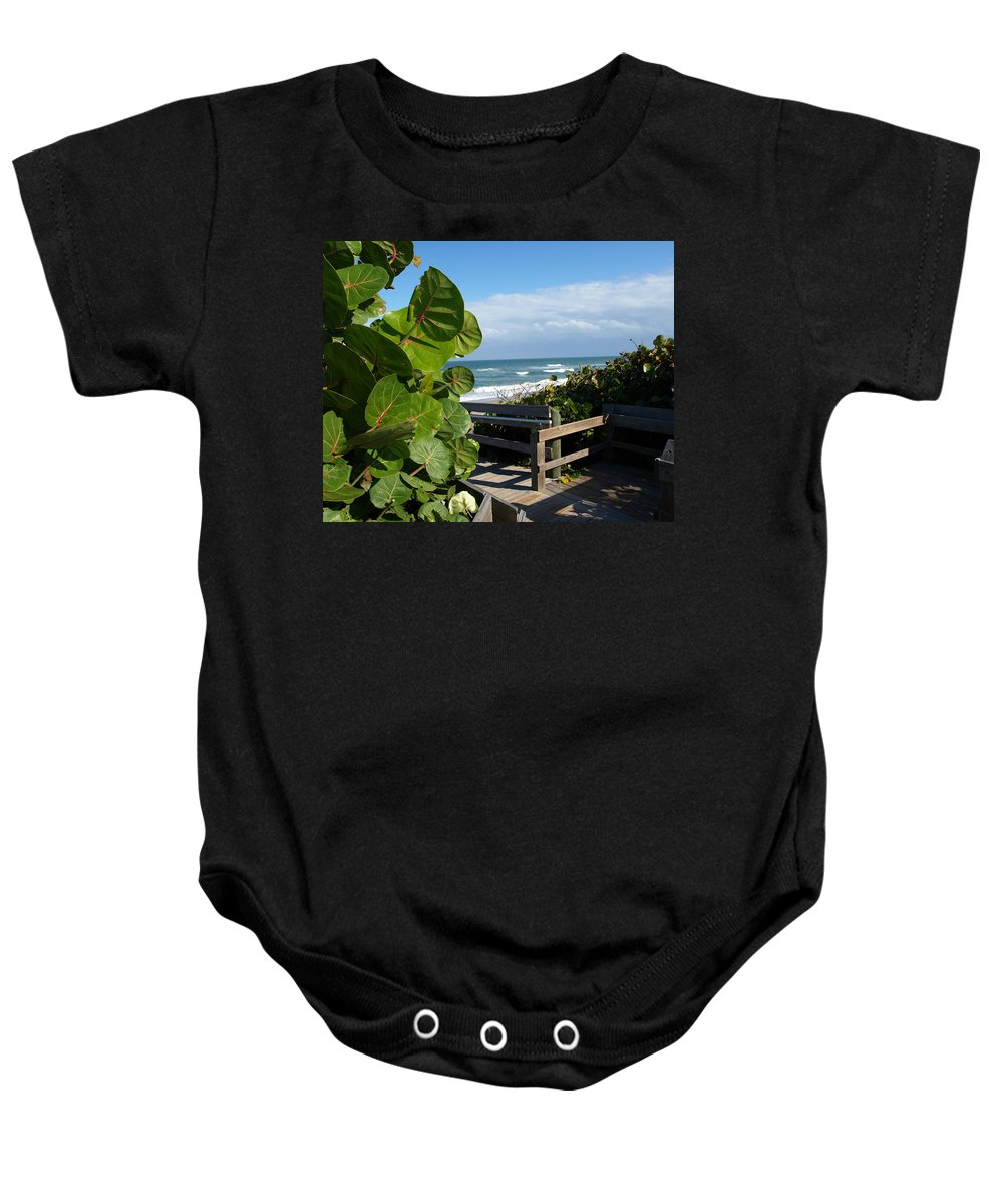 Seagrape; Sea; Grape; Ocean; Cocoanut; Point; Melbourne; Beach; Florida; Waves; Surf; Seascape; Brev Baby Onesie featuring the photograph Melbourne Beach Florida by Allan Hughes
