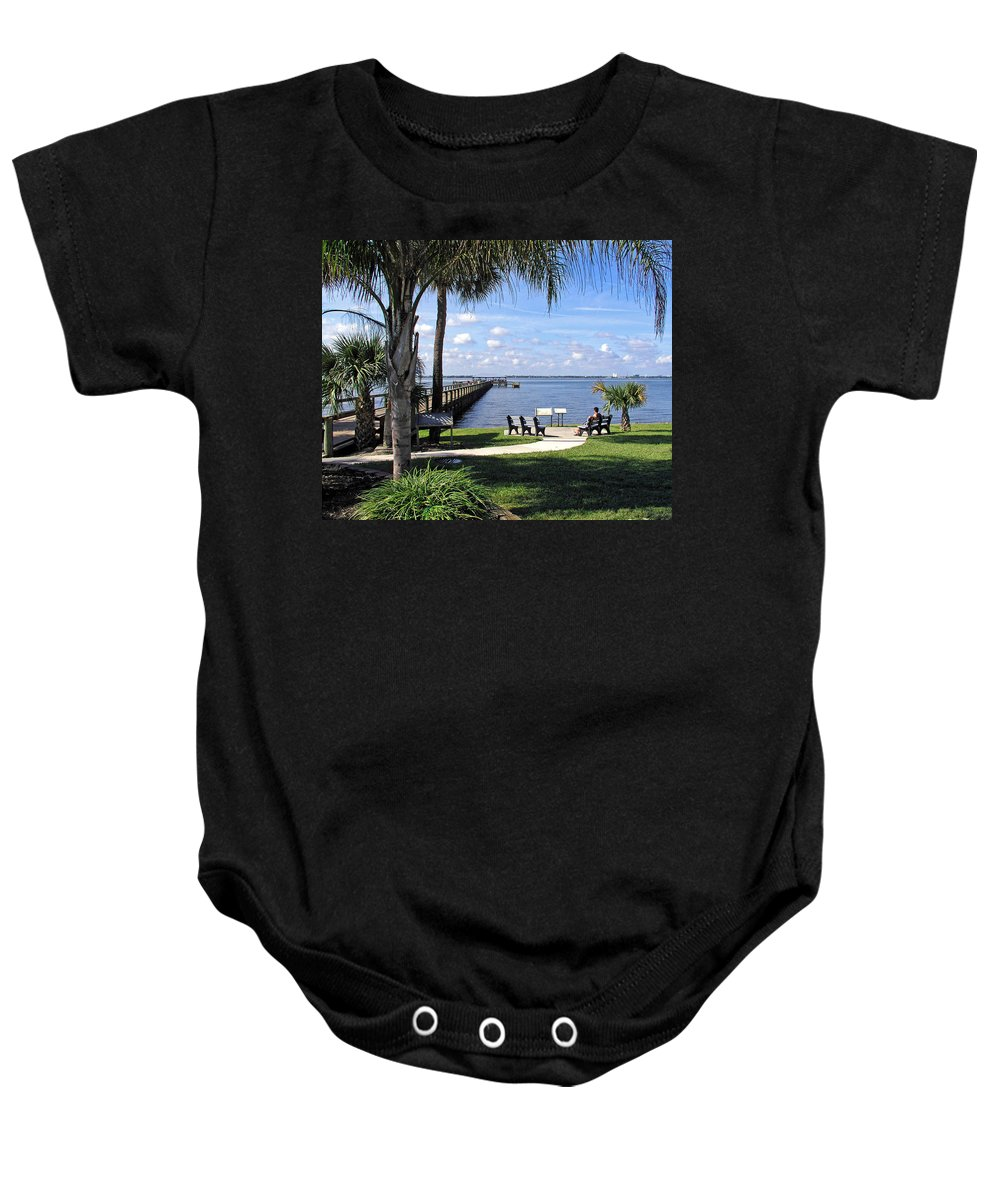 Melbourne; Beach; Pier; Florida; Peaceful; Peace; Indian; River; South; Scene; Scenery; South; South Baby Onesie featuring the photograph Melbourne Beach Pier In Florida by Allan Hughes
