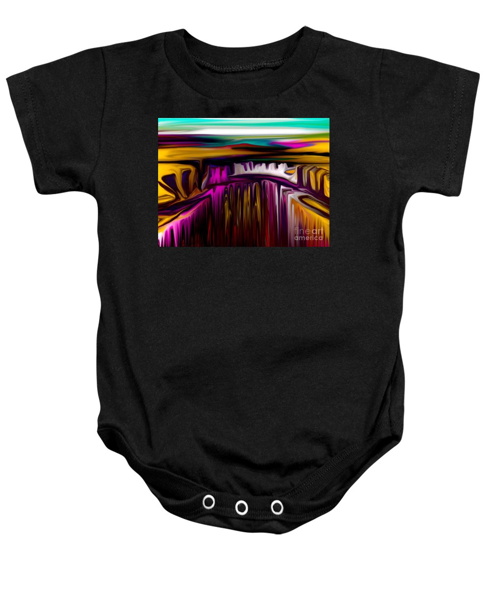 Abstract Baby Onesie featuring the digital art Melting by David Lane