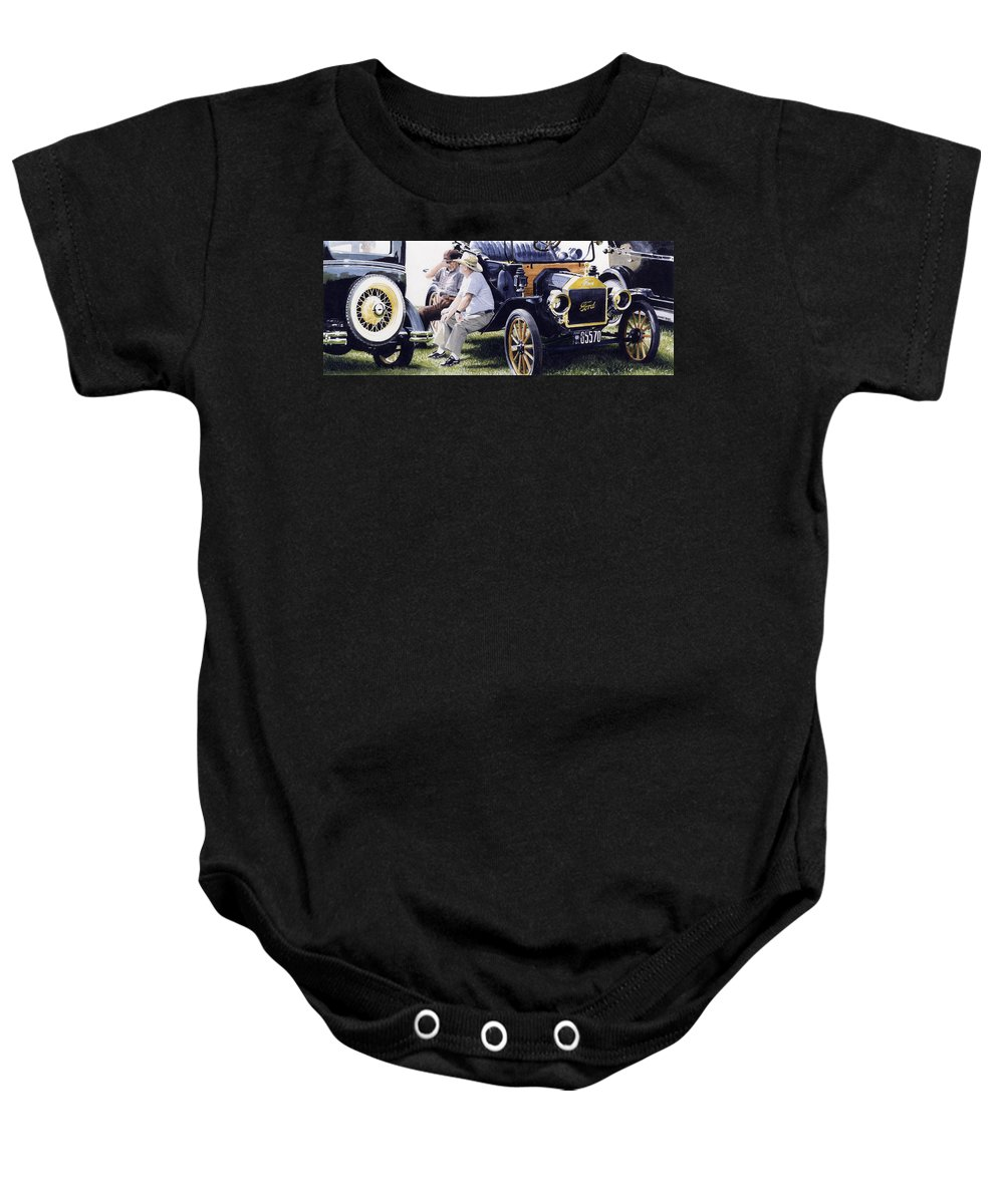 Antique Cars Baby Onesie featuring the painting Men And Their Toys by Denny Bond
