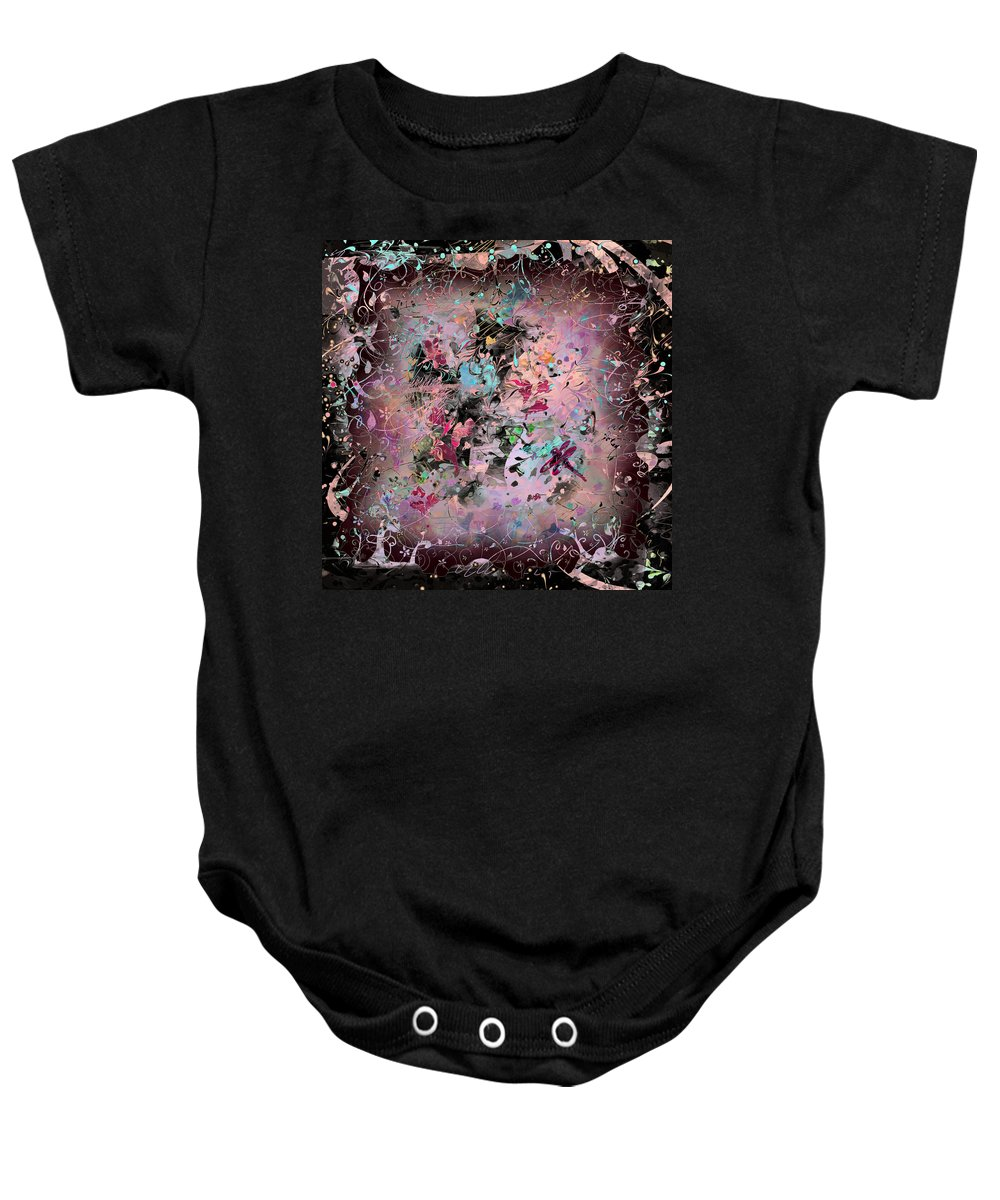 Abstract Baby Onesie featuring the digital art Menagerie by Rachel Christine Nowicki