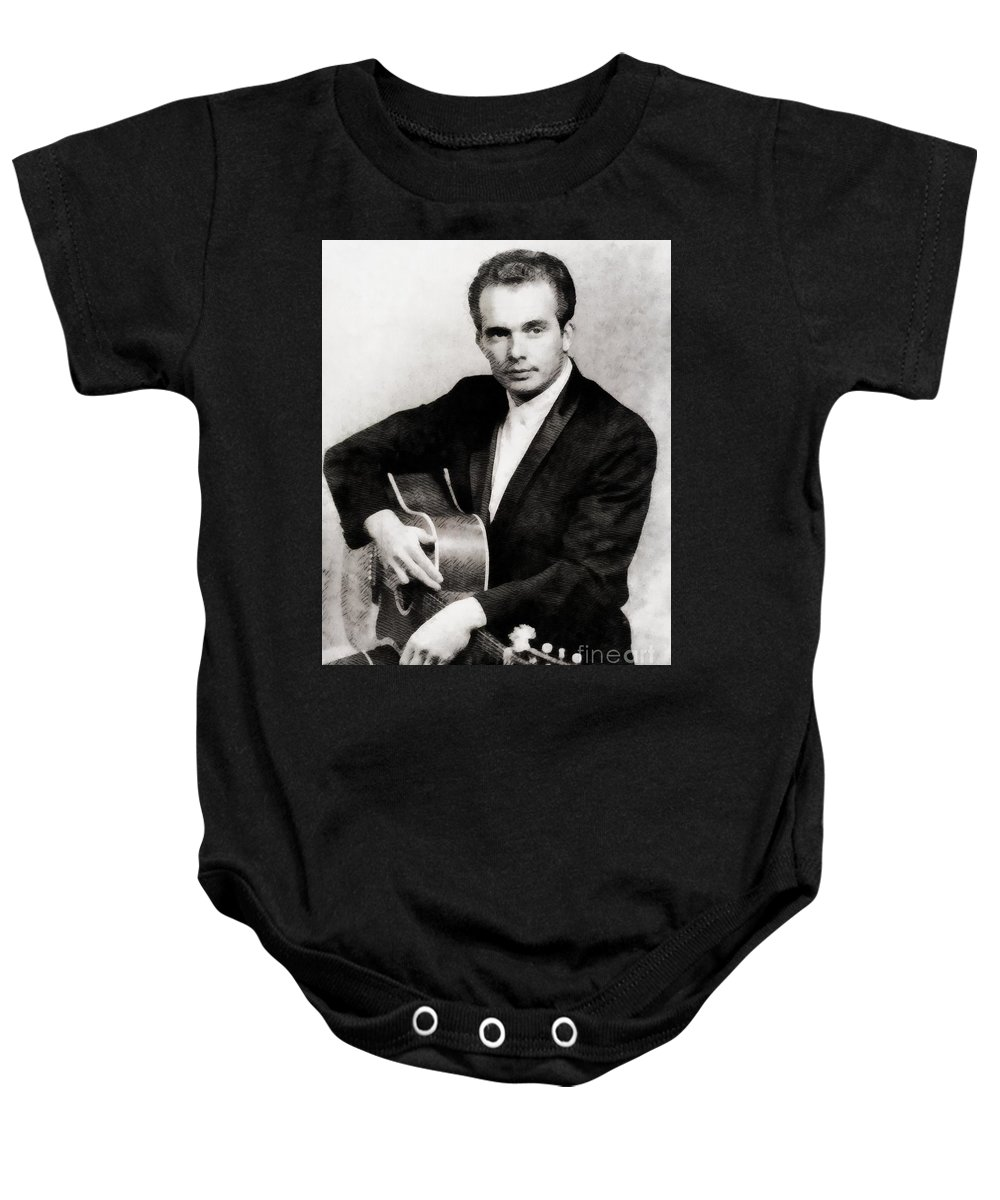Hollywood Baby Onesie featuring the painting Merle Haggard, Music Legend By John Springfield by John Springfield