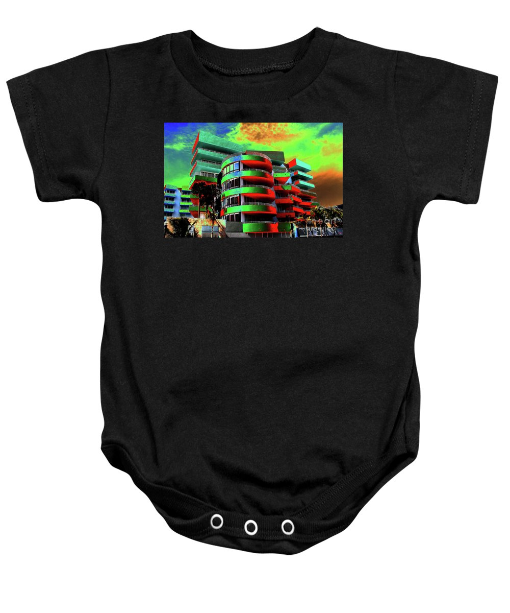 Art Deco Architecture Baby Onesie featuring the painting Miami by David Lee Thompson