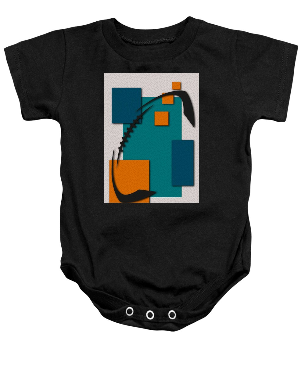 Dolphins Baby Onesie featuring the painting Miami Dolphins Football Art by Joe Hamilton