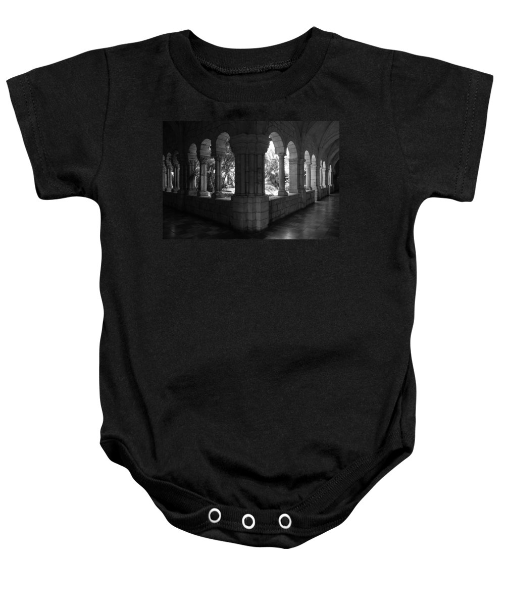 Black And White Baby Onesie featuring the photograph Miami Monastery In Black And White by Rob Hans