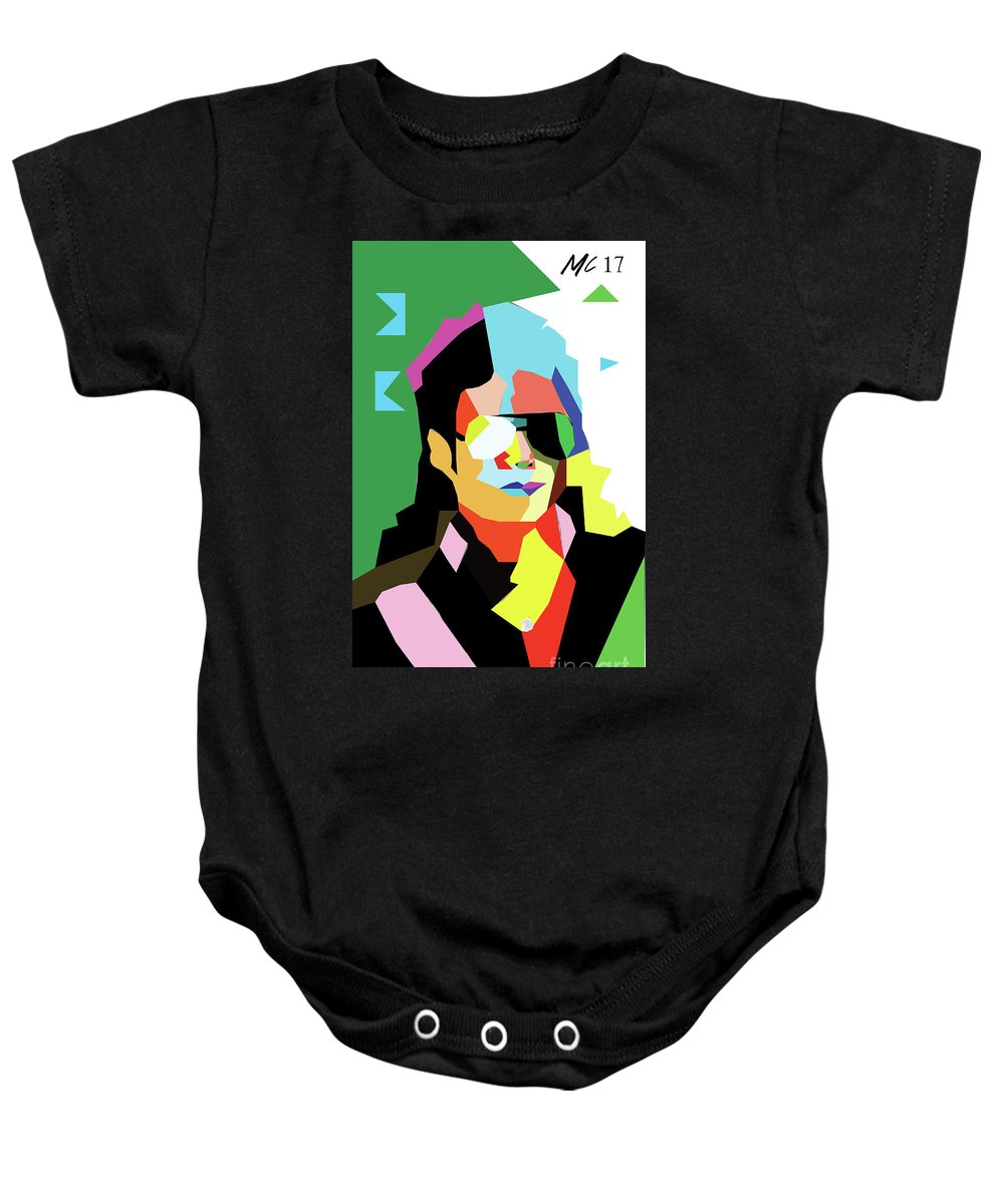 Wpap Baby Onesie featuring the digital art Michael Jackson by Mariaelisabetta Capogna