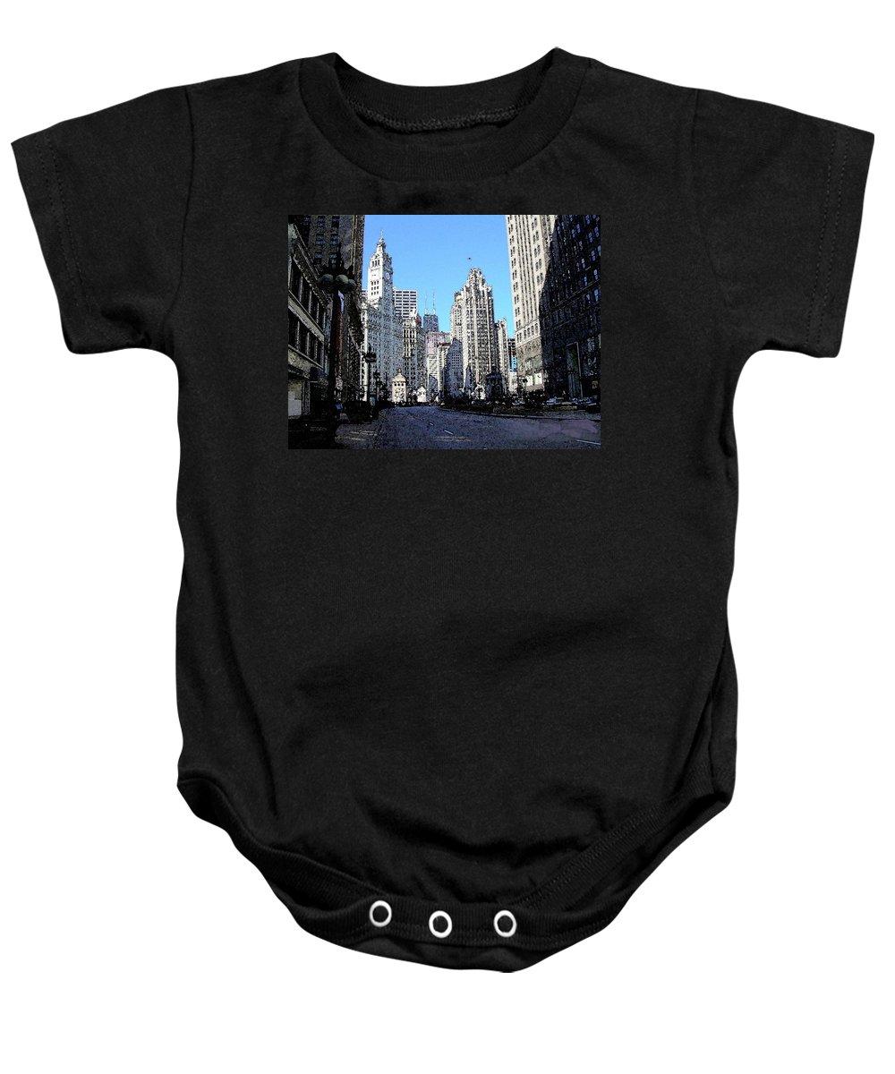 Chicago Baby Onesie featuring the digital art Michigan Ave Wide by Anita Burgermeister