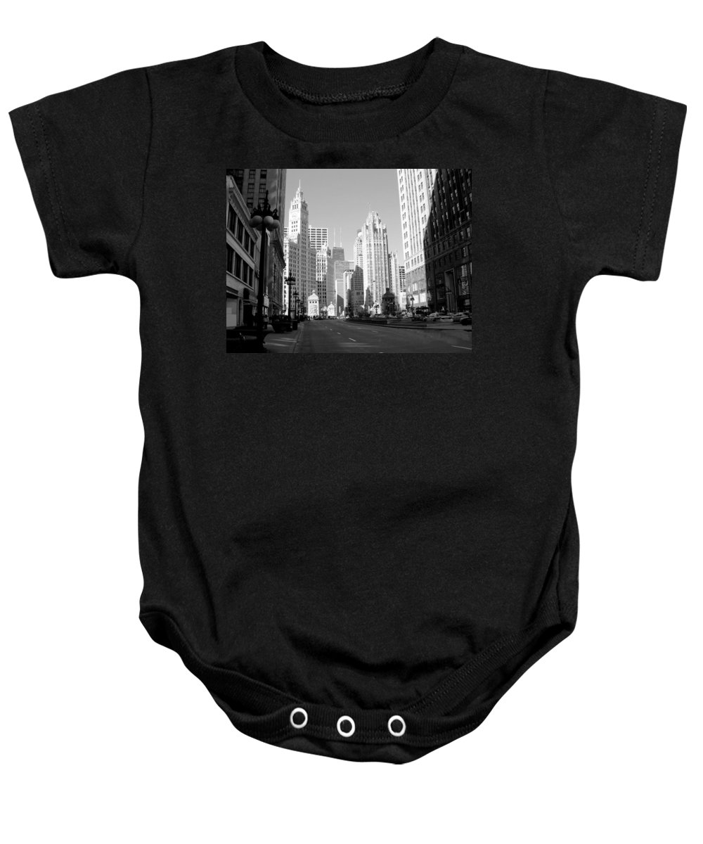 Chicago Baby Onesie featuring the photograph Michigan Ave Wide B-w by Anita Burgermeister