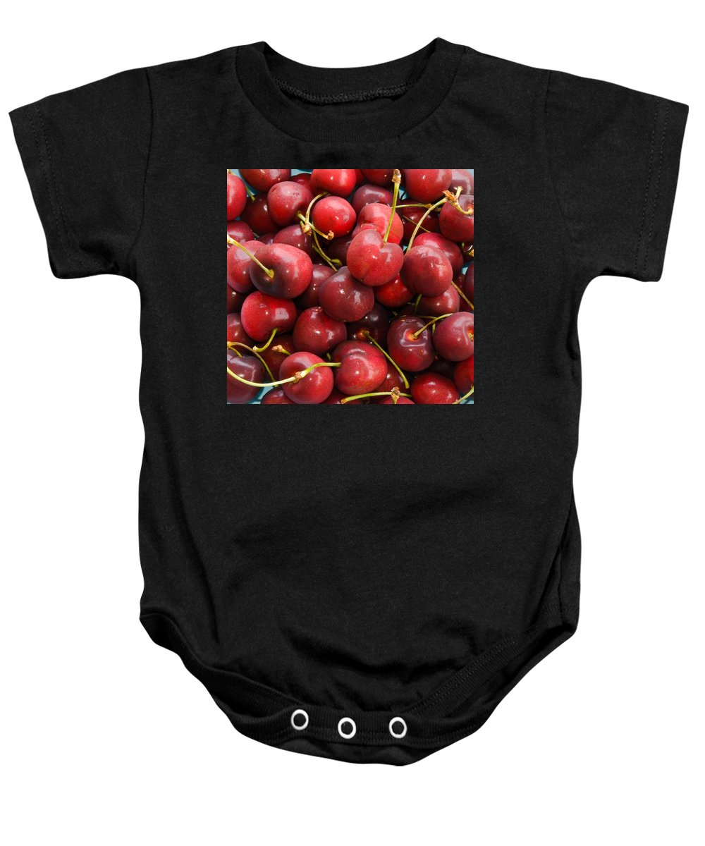 Life; Bowl; Cherry; Cherries; Dish; Bunch; Pile; Stem; Pit; Pie; Fruit; Blossom; Tree; Florida; Ripe Baby Onesie featuring the photograph Michigan Cherries by Allan Hughes