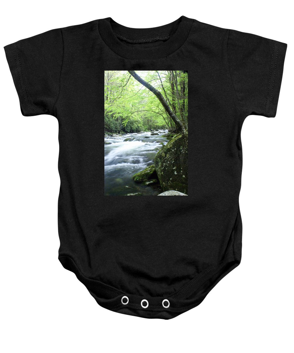 Stream Rive Baby Onesie featuring the photograph Middle Fork River by Marty Koch