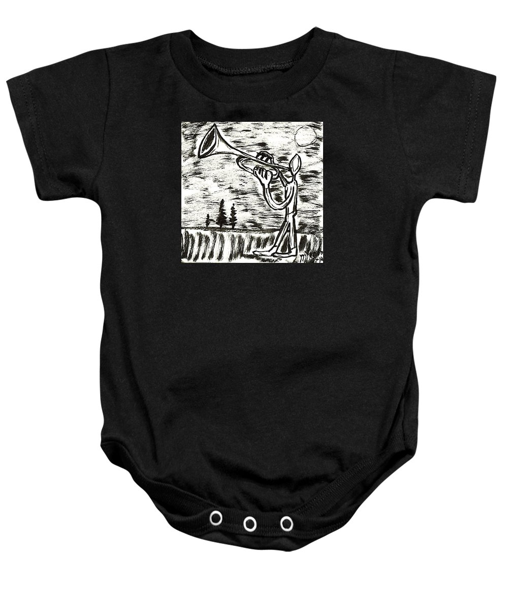 Ink Baby Onesie featuring the drawing Midnight Horn by Mario MJ Perron