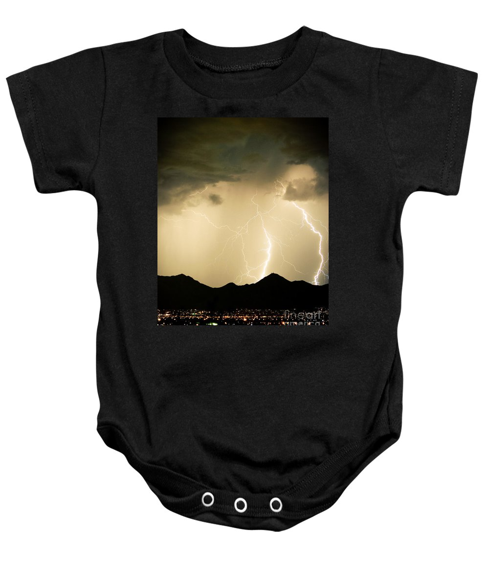 Arizona Lightning Storms Baby Onesie featuring the photograph Midnight Lightning Storm by James BO Insogna