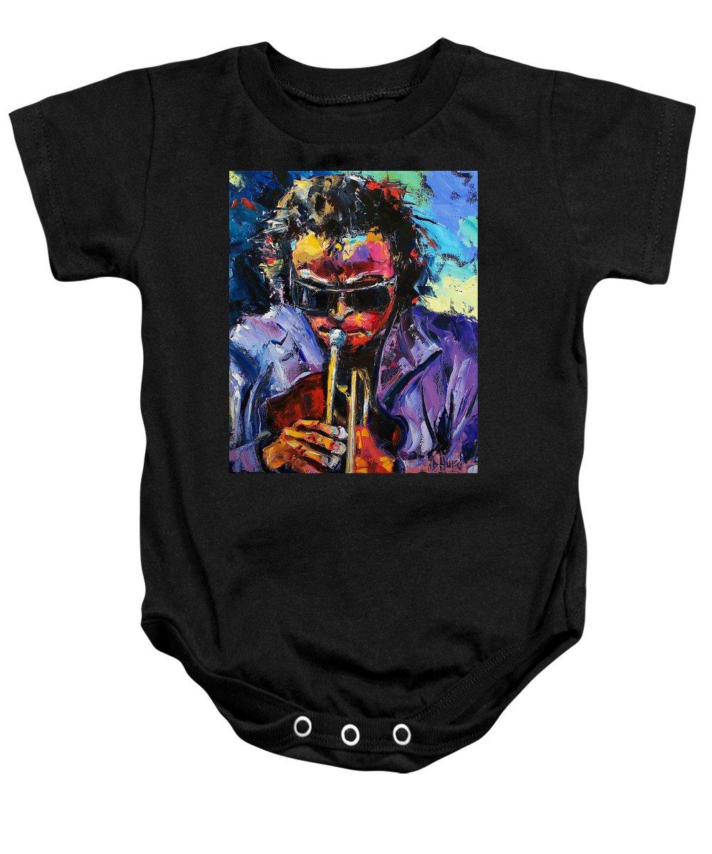 Miles Davis Baby Onesie featuring the painting Miles Davis by Debra Hurd