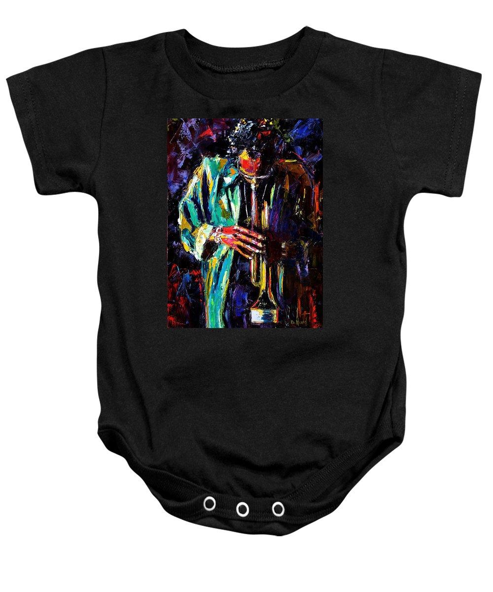 Miles Davis Baby Onesie featuring the painting Miles by Debra Hurd