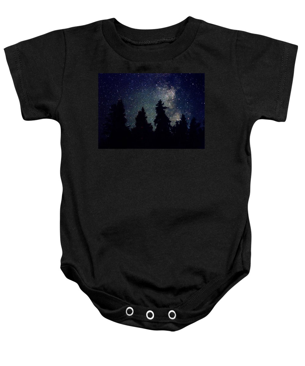 Milky Way Baby Onesie featuring the photograph Milky Way Above Northern Forest 22 by Lyle Crump