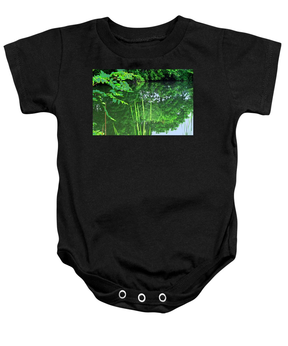 Black Creek Baby Onesie featuring the photograph Mill Pond Reflections by Ian MacDonald