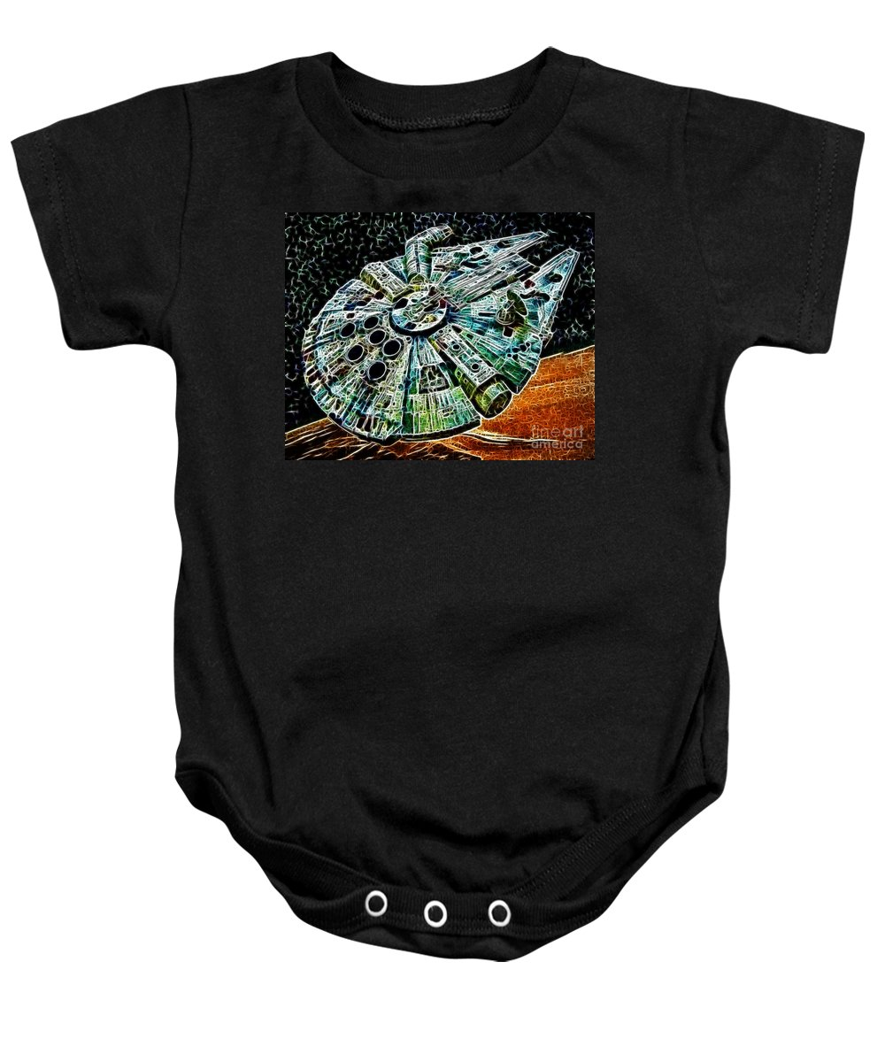 Han Solo Baby Onesie featuring the photograph Millenium Falcon by Paul Ward