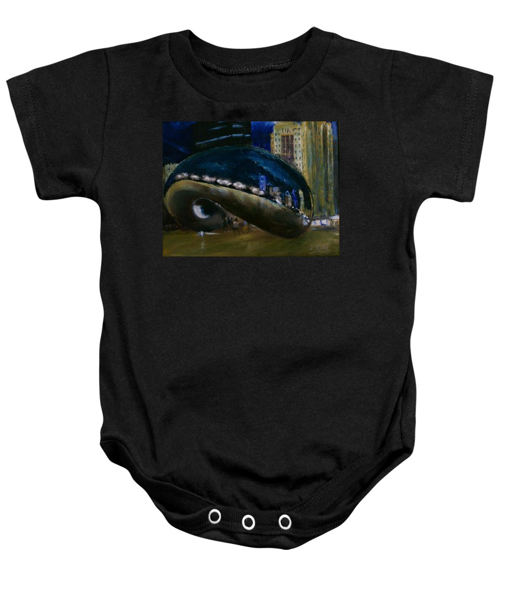 Cityscape Baby Onesie featuring the painting Millennium Park - Chicago by Stephen King